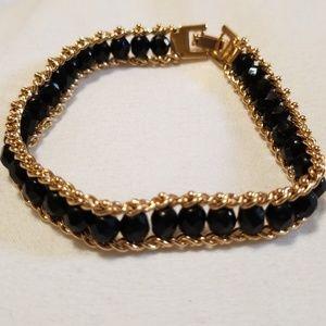 Black Bead Gold Tone Bracelet